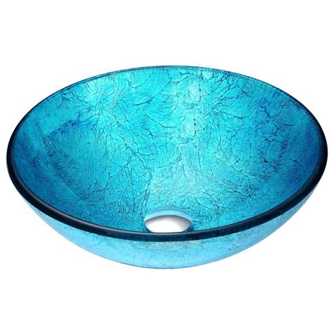 turquoise blue glass ls anzzi accent vessel sink in blue ice ls az047 the home depot