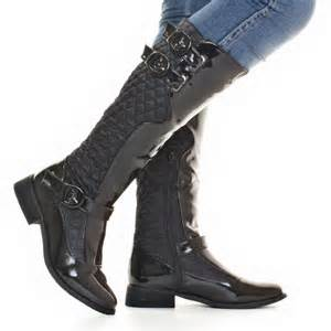 womens boots knee womens quilted flat black patent knee high casual boots size 3 8 ebay