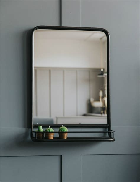Bathroom Mirror With Shelf by Large Industrial Mirror With Shelf In 2019 Cloakroom