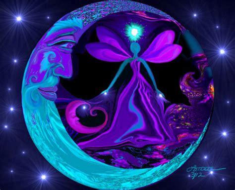 moon and stars fairy l moon stars fairy art blue purple decor angel energy print