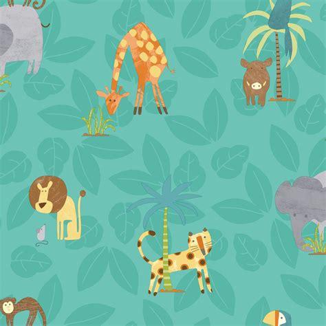 Animal Wallpaper B Q - holden d 233 cor teal jungle animals matt finish wallpaper