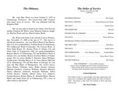 Sle Church Bulletins Templates by What To Include In A Funeral Order Of Service Memorial