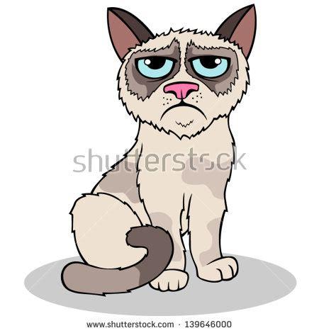 Cartoon Vector Grumpy Cat  Stock Vector