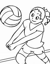 Volleyball Coloring Pages Printable Ball Sports Athlete Playing Volleybal sketch template