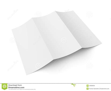leaflet blank tri fold white paper brochure stock photo