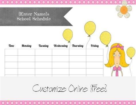 school schedule maker customize  print  home