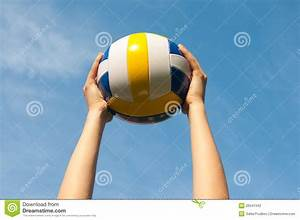 Hands Holding Ball For Volleyball Stock Photo - Image ...