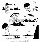 Parasailing Hang Icons Parachuting Gliding Paragliding Jumping Cliff Jump Extreme Base Sports Shutterstock Parachute Pictogram Stick Figure Glider Similar Cliparts sketch template