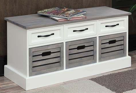 Grey Storage Bench by Weathered Grey And White Storage Bench From Coaster