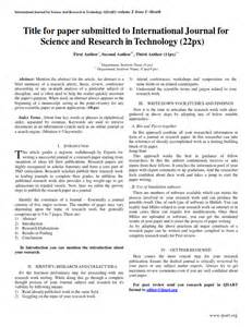 Journal Article in Research Paper Format