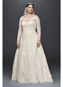 Off the shoulder plus size beaded wedding dress david39s for Plus size off the shoulder wedding dress