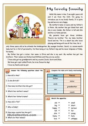 an elementary text about family and family members i added multiple reading comprehension tasks