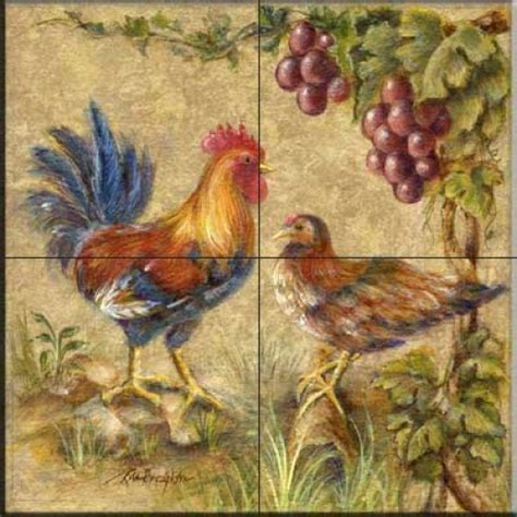 Rooster tiles   Kitchen backsplash tiles   Rooster Duo