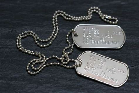 solid  sterling silver army dog tags
