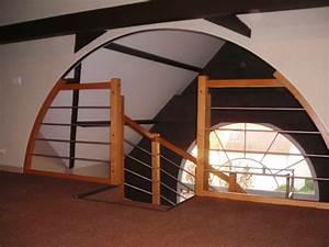 Garde Corps Sur Mesure : escalier bois rampe bois inox ~ Melissatoandfro.com Idées de Décoration