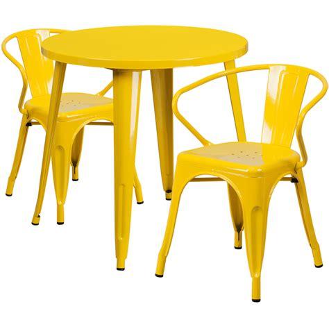 30 yellow metal indoor outdoor table set with 2