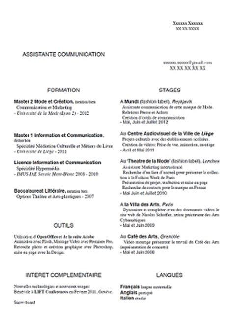 Exemple De Cv Rédigé by Exle Resume Exemple Cv Assistante