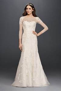 oleg cassini lace wedding dress with 3 4 sleeves style With 3 4 sleeve lace wedding dress