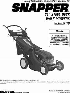 Snapper 2167519b  7800174  User Manual Lawn Mower Manuals