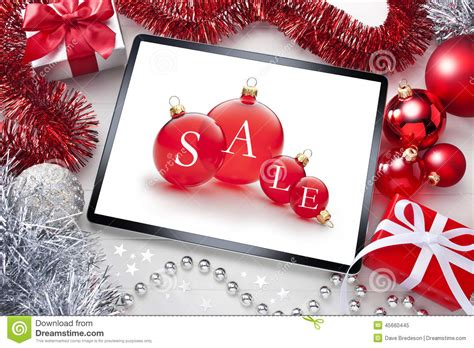 christmas decorations on the computer tablet sale background stock photo image 45660445