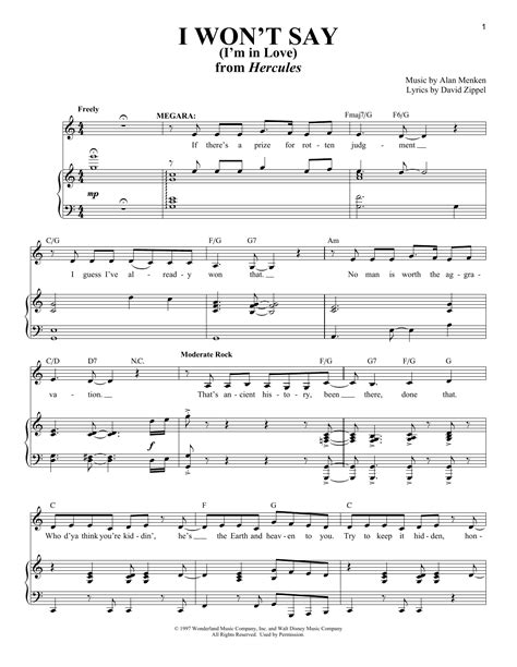 I Won't Say (i'm In Love)  Sheet Music Direct