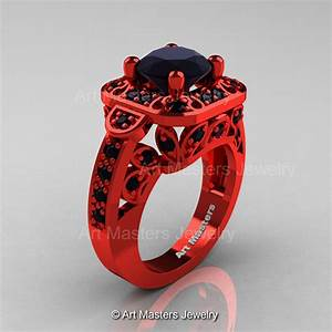 art masters classic 14k red gold 20 ct black diamond With red and black wedding ring
