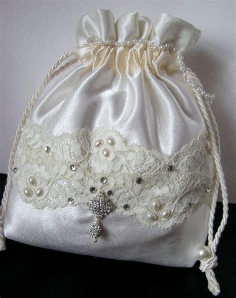 white satin drawstring pouch hand  bag bridal bag