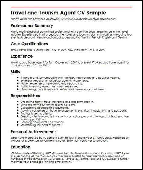 travel resume tips travel cv sle myperfectcv