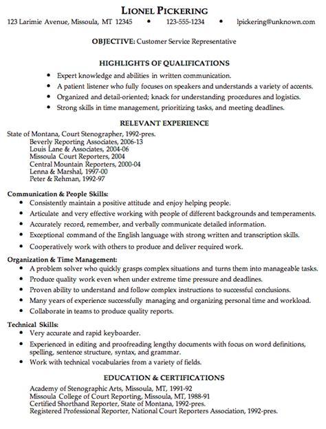 Customer Service Representative Resume Exles by Combination Resume Sle Customer Service Representative