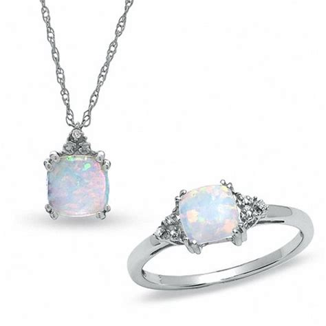 lab created opal ring  pendant set   white gold
