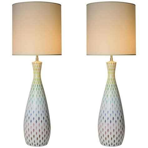 Coloured Table Lamps by Pair Of Large Multi Colored Italian Ceramic Table Lamps By