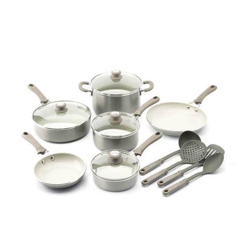 trisha yearwood ceramic aluminum  stick precious metals cookware set  piece walmartcom