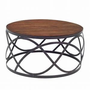 Table Fer Forgé Ronde : mobilier r tro table basse ronde en fer forg et bois massif ~ Teatrodelosmanantiales.com Idées de Décoration