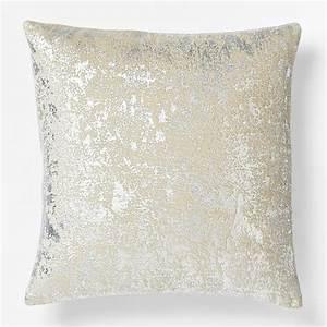 Metallic Texture Pillow Cover, Silver - Contemporary