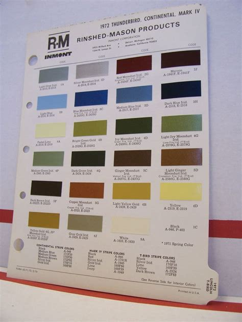 1972 lincoln continental iv thunderbird paint chips color chart r m 72 ford ebay 72