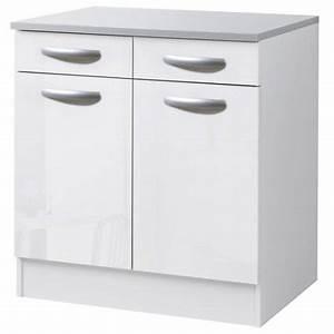 meuble de cuisine bas 2 portes 2 tiroirs blanc brillant With meuble bas de cuisine 60 cm 1 meuble bas 80 cm 2 portes 2 tiroirs spoon coloris blanc