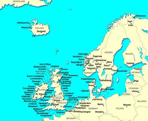 map  europe cities pictures printable maps  northern