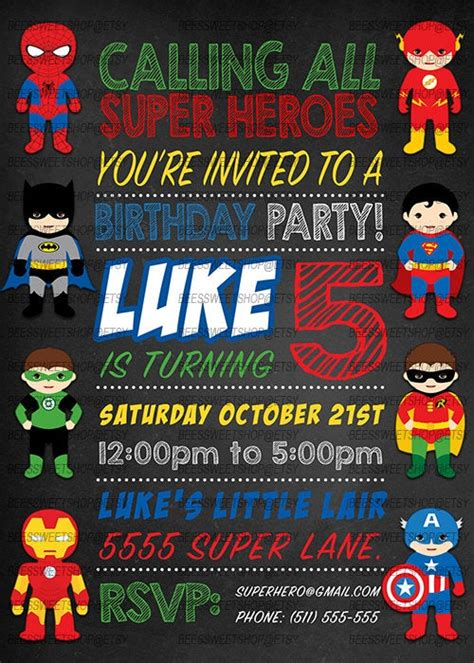 superhero birthday invitations printable digital file