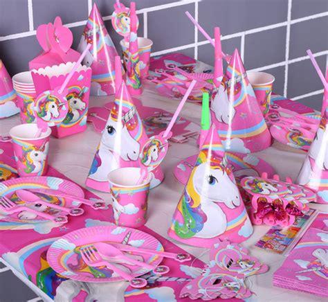 set perlengkapan pesta ulang  unicorn multi color