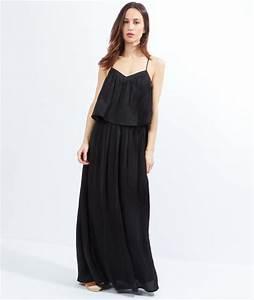Robe longue noir ete for Robe d été noire à bretelles