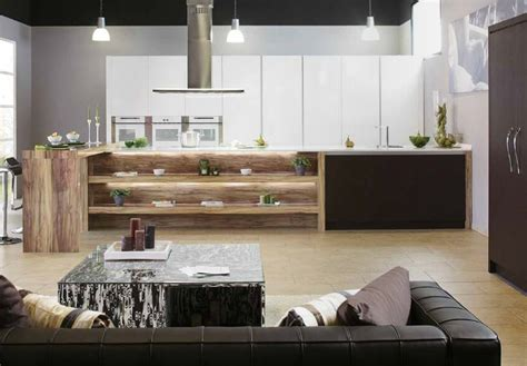 rustic wood grain white gloss kitchen interior design ideas