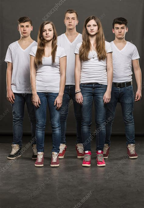Five teenagers standing in a group - Stock Image - F008 ...