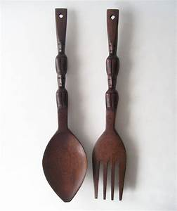 vintage wooden fork and spoon wall hanging by ...