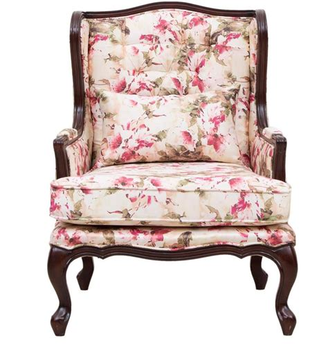 buy lorraine wing chair  wooden frame  salmon pink