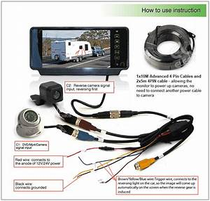 7 U0026quot  Rearview Monitor Caravan 2 Reversing Camera 4pin System Kit Ccd Trailer Cable