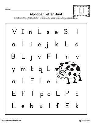 alphabet letter hunt letter l worksheet 368 | Alphabet Letter Hunt Letter L Worksheet