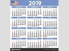 2019 Squared calendário inglês EUA — Vetor de Stock