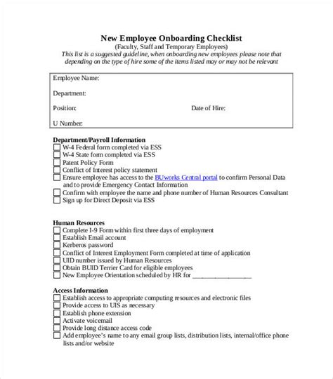 onboarding checklist samples  templates  word