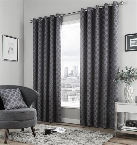 geometric charcoal grey fully lined ring top curtains 6