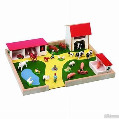 Farm Wooden Animals Play Construction